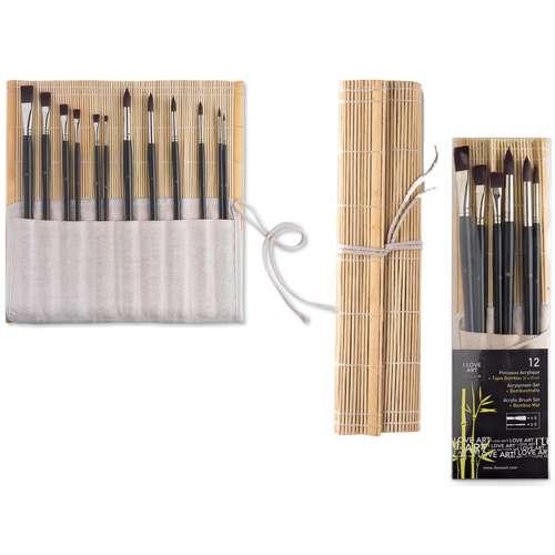 I Love Art Acrylic Brush Set + Bamboo Mat